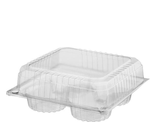 Bakery Plastic Storage Containers with Lid (Four Muffin Pack)
