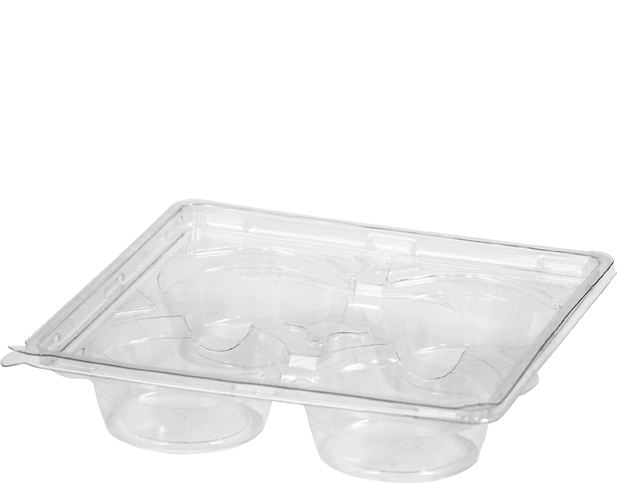 Plastic Container with Lid (4-Tart Pack)