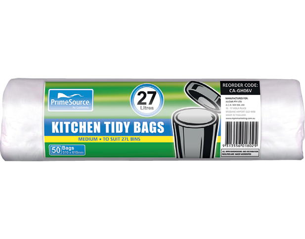 Kitchen Tidy Bags, Bin Liners (Medium White Perforated Roll)