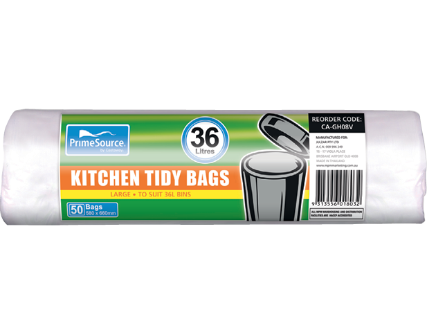 Kitchen Tidy Bags, Bin Liners (Large White Perforated Roll)