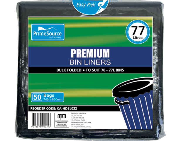 PrimeSource® Premium Garbage Bin Liners (77L Black)