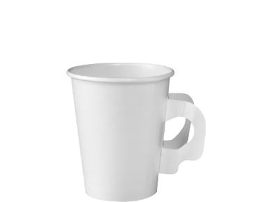 Single Wall Paper Coffee Cups with Handles (White 8oz)
