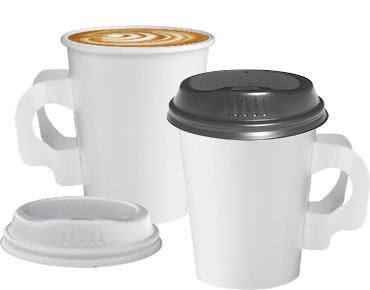 Single Wall Paper Coffee Cups With Handles White 8oz