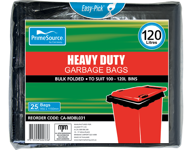 Heavy Duty Plastic Garbage Bags Bulk Folded (120L Black)