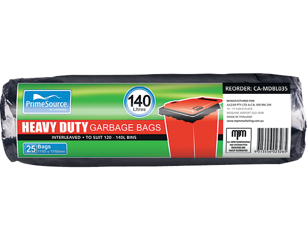 Heavy Duty Plastic Garbage Bags Roll Pack (140L Black)