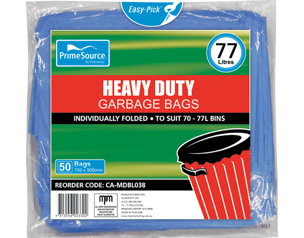 Heavy Duty Plastic Garbage Bags (77L Blue)