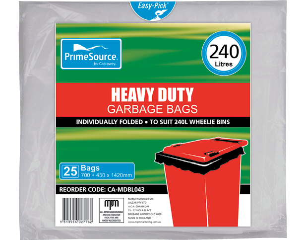 Heavy Duty Plastic Wheelie Bin Bags (240L Clear)