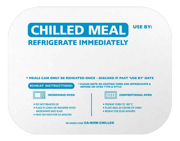 Rectangle Takeaway Foil Container Lids (Printed Chilled Meal)