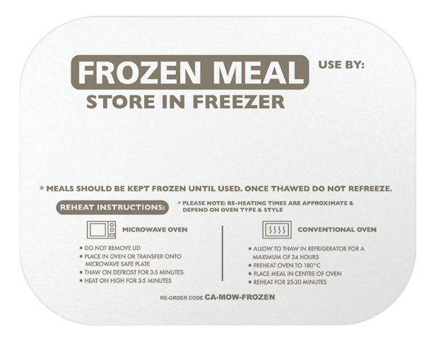 Rectangle Takeaway Foil Container Lids (Printed Frozen Meal)