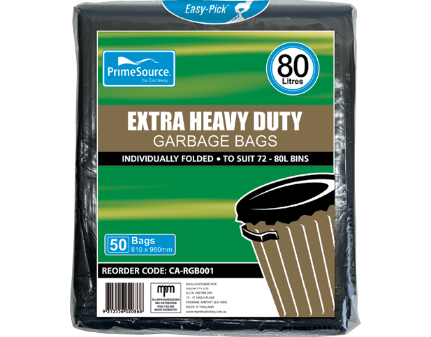 Easy-Pick® Extra Heavy Duty Garbage Bags (80L Pack)