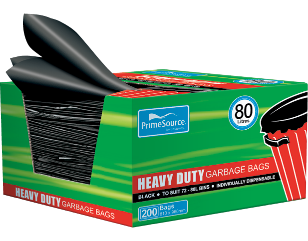 Heavy Duty Plastic Garbage Bags Large Dispenser Box (80L Black)