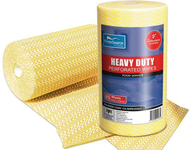 Heavy Duty Reusable Food Service Wipes (Yellow) | Perforated Roll