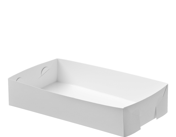 Folding White Paper Food Trays (Medium)