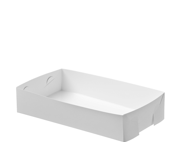 Folding White Paper Food Trays (Small)