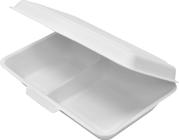Enviroboard® Food Clams Paper Containers - Dinner Packs (Large 2-Compartment)