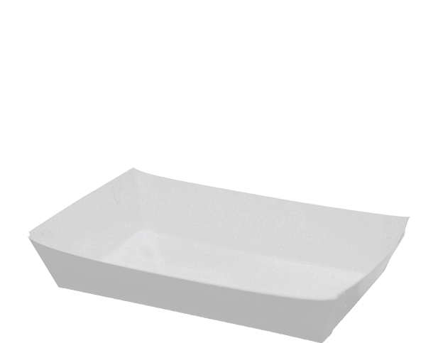 Folding White Paper Food Trays Extra Small Castaway