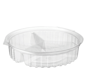 Clearview® 3 Compartment Bowls with Flat Lid (568ml / 20oz)