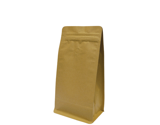 500g Box Bottom Coffee Bag | Resealable Zipper | Quad Seal | Brown Kraft