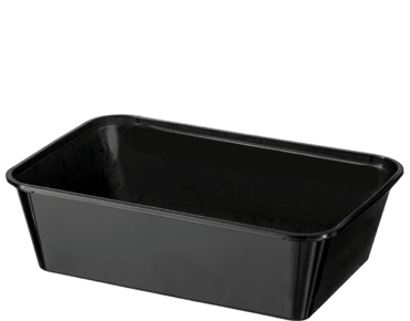 MicroReady® Rectangle Plastic Containers (Black, 650ml)