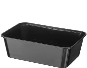 MicroReady® Rectangle Plastic Containers (Black, 750ml)