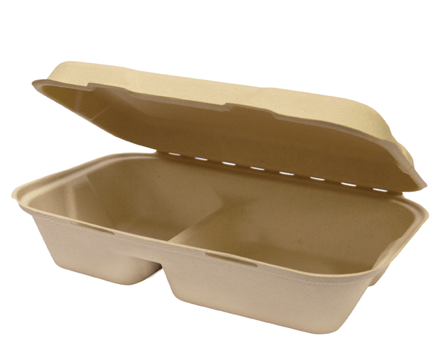 large snack pack 2 compartment takeaway clam food packaging castaway australia
