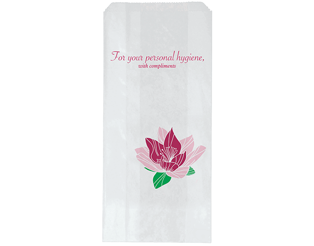 Hotel Sanitary Napkin Paper Bags with 'Floral' Print