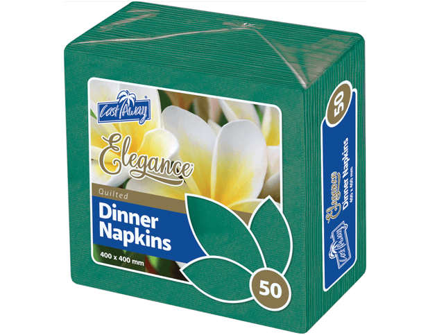 Elegance® Folding Napkins for Dinner (Quarter Fold, Pine Green)