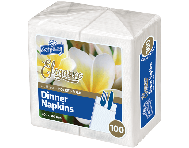 Castaway Elegance Dinner Napkins (Pocket-fold), White