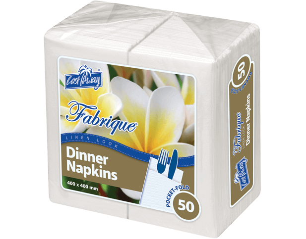 Fabrique® Linenlook® Dinner Napkin (Pocket-Fold, White)