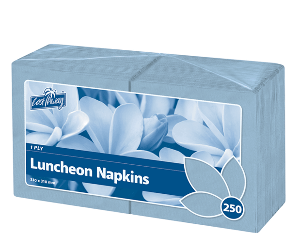 Premium 1-Ply Luncheon Paper Napkins (Quarter Fold, Light Blue)
