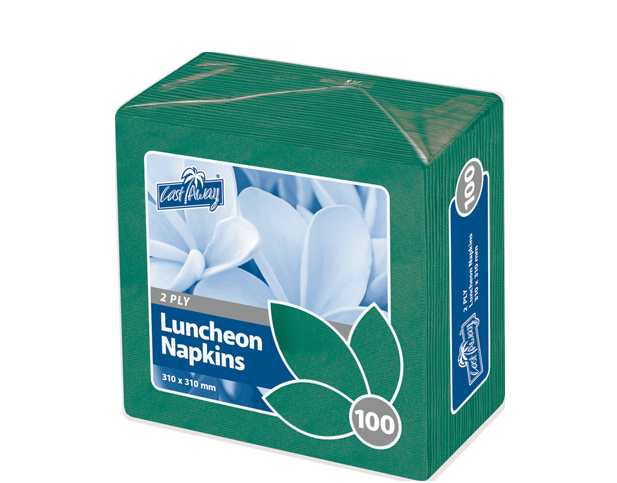 Premium 2-Ply Luncheon Paper Napkins (Quarter Fold, Pine Green)