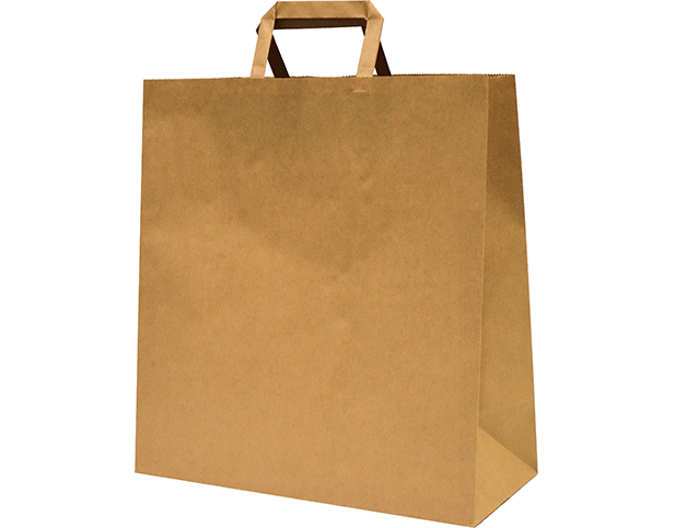 Brown Paper Carry Bags with Flat Paper Handles (Large)
