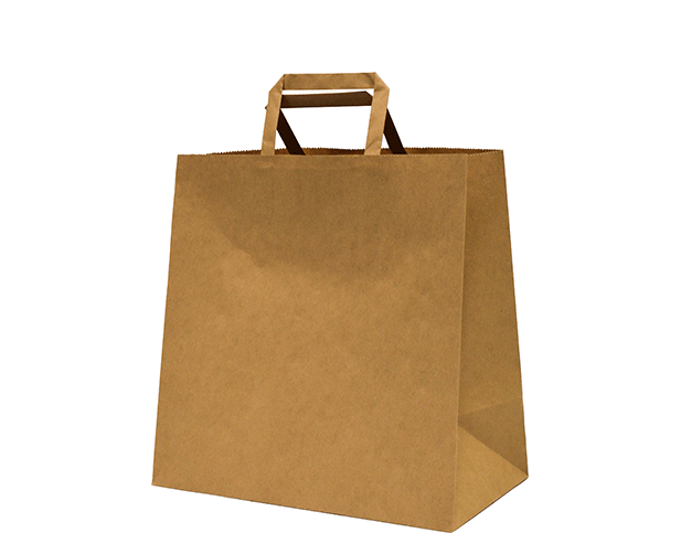Brown Paper Carry Bags with Flat Paper Handles (Medium)
