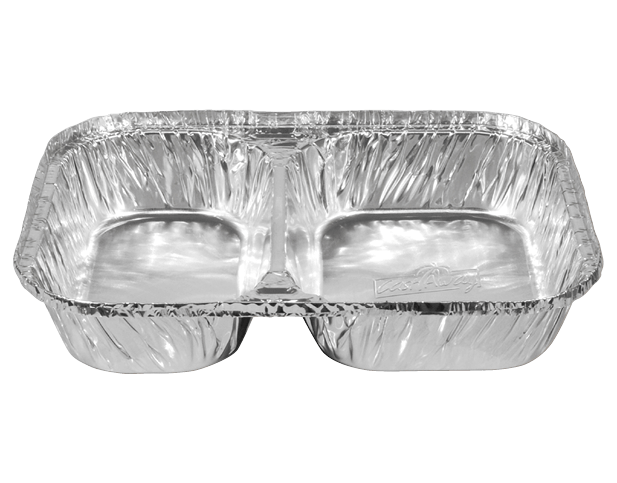 Rectangle Takeaway Foil Containers (Large 2 Compartment)