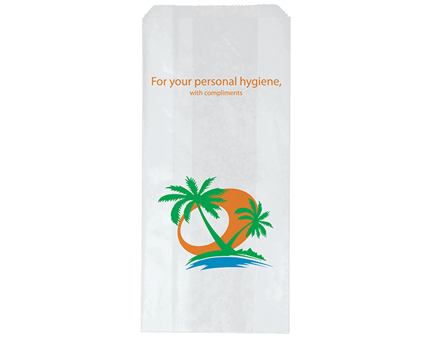 Hotel Sanitary Napkin Paper Bags with 'Tropic' Print