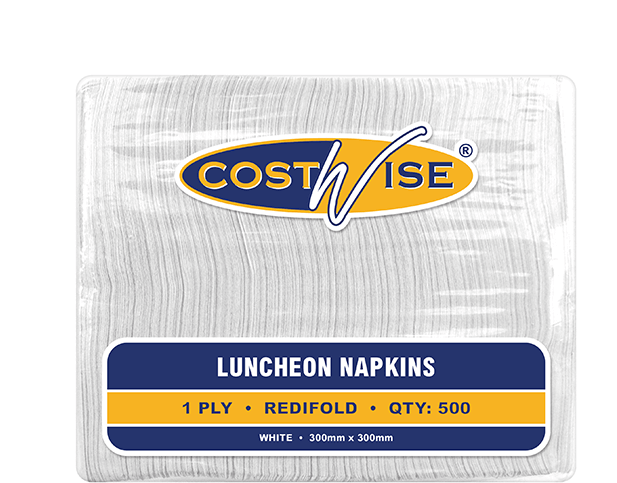 Costwise® 1-Ply Luncheon Paper Napkins (Redifold® White)