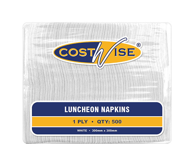 Costwise® 1-Ply Luncheon Paper Napkins (Quarter Fold White)