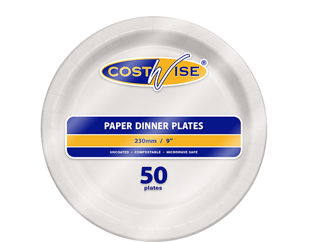 Costwise® Uncoated Paper Plates (Round 9 inches)