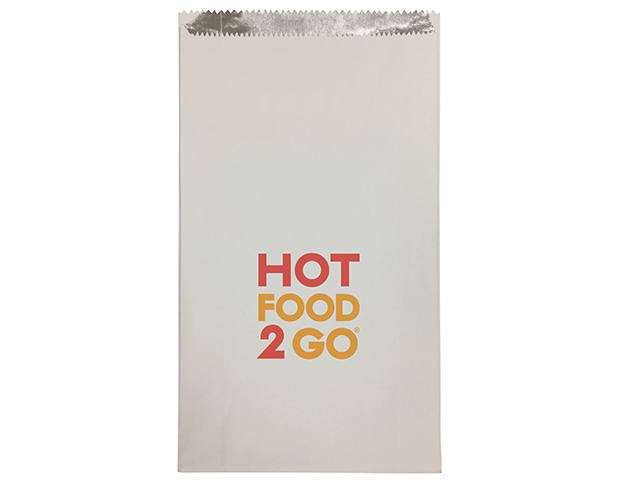 Foil Lined Paper Bags (Large with 'Hot Food 2 Go' Print)
