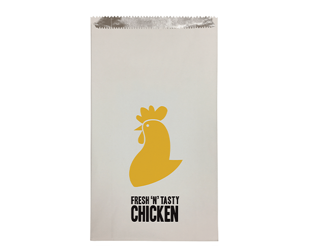 Foil Lined Paper Bags (Large with 'Fresh 'N' Tasty Chicken' Print)