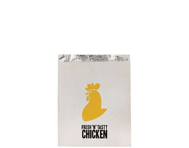 Foil Lined Paper Bags (Small with 'Fresh 'N' Tasty Chicken' Print)