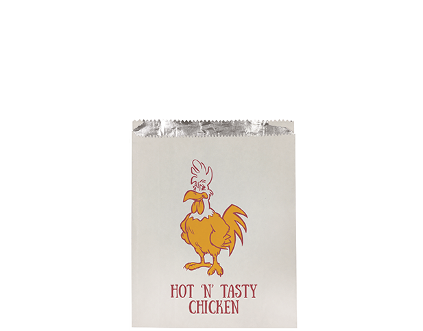 Foil Lined Paper Bags (Small with 'Hot 'N' Tasty Chicken' Print)