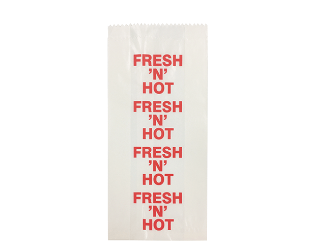 Satchel Glassine Paper Bags (Size #2 with 'Fresh n Hot' Print)