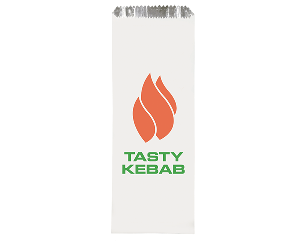 Foil Lined Paper Bags (Long with 'Tasty Kebab' Print)