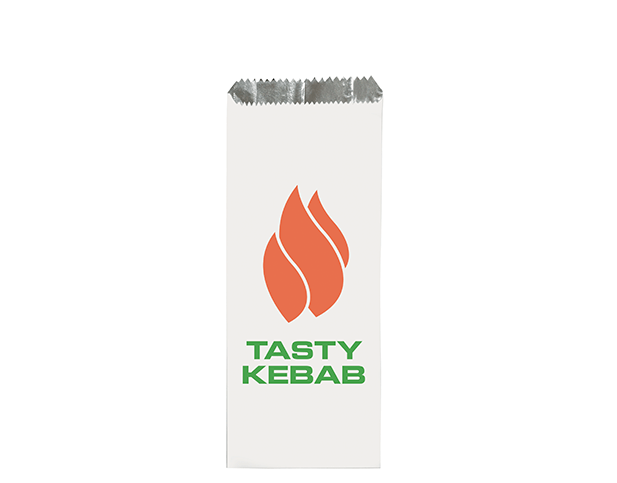 Foil Lined Paper Bags (White with 'Tasty Kebab' Print)