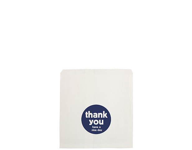 Flat White Paper Bags (Size #2 Square with 'Thank You' Print)