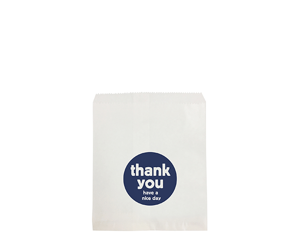 Flat White Paper Bags (Size #4 Flat with 'Thank You' Print)