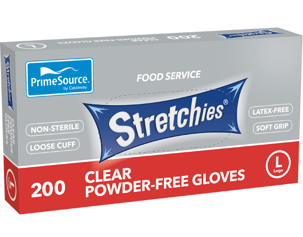 Stretchies Powder-free Disposable Plastic Gloves (Clear, Large)