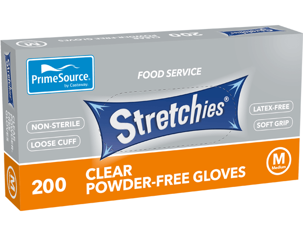 Stretchies Powder-free Disposable Plastic Gloves (Clear, Medium)