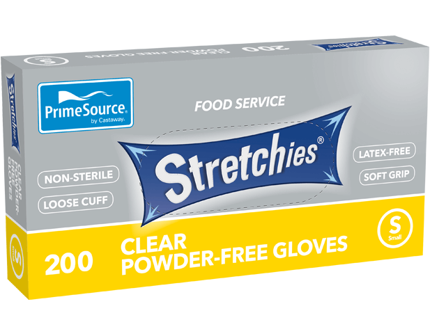 Stretchies Powder-free Disposable Plastic Gloves (Clear, Small)